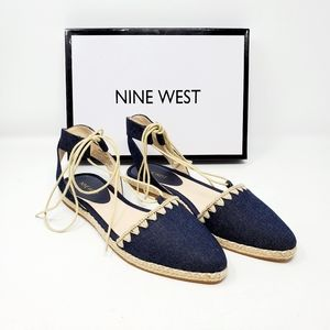 Nine West Unah Lace-Up Pointed Toe Espadrilles